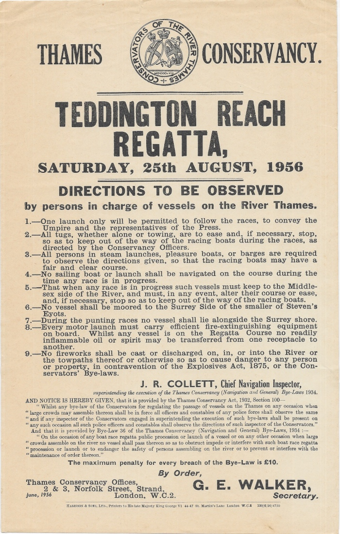 Teddington Reach Regatta 1956