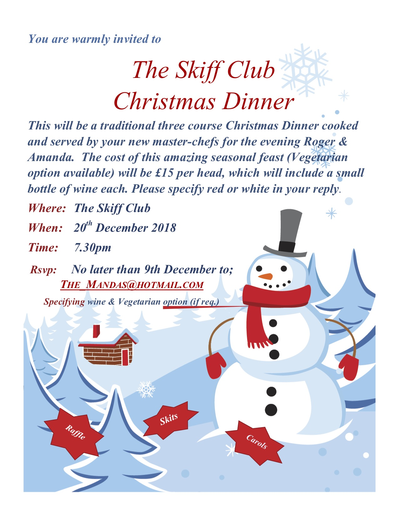 Skiff Club Christmas dinner 2018